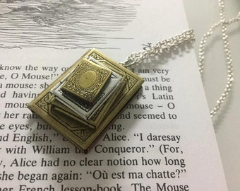 Stack of book lockets necklace