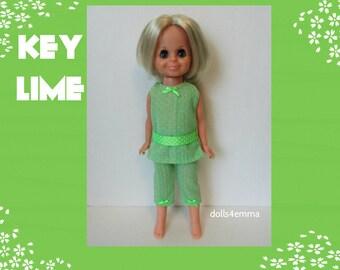 Vintage Ideal VELVET Doll CLOTHES - Lime-Green Tunic and Capri Pants - Handmade Custom Fashion - by dolls4emma
