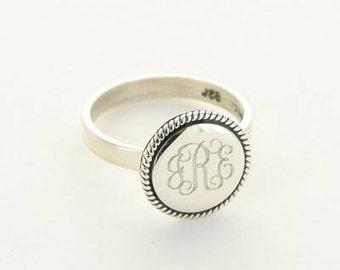 Silver Monogrammed Ring, Monogrammed Ring, Monogrammed Jewelry, Silver Jewelry, Silver Ring, Customized Ring, Initial Ring