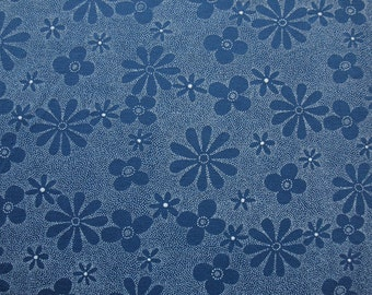 Blue Grey and White Slinky Knit Fabric with Floral Design