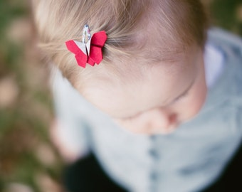 Infant hair clips, red hair clip, origami butterfly, mini hair clips, hair accessories red, baby girl clips, butterfly clips, red baby clips