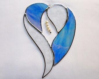 Stained Glass Blue Multicolor Swirl Heart Suncatcher