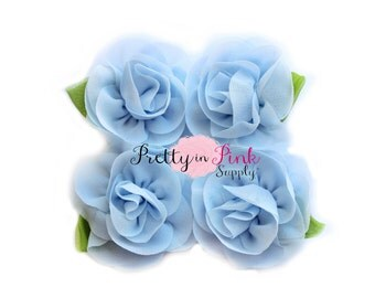 Light Blue Chiffon Rose with Leaf Flower...You Choose Quantity...Chiffon Rose Flower...Rolled Rosettes...Mini Rolled Rosettes...Shabby Rose