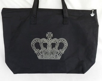 Rhinestone Crown Tote/Bag It Comes With A Removable Crown Zipper Pull Charm Beauty Pageant Bag, Queen Or Princess Tote/Bag
