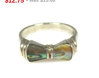 Vintage Sterling Silver Abalone Bow Ring Size 6 Marked AS