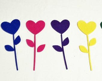 Thick Felt  Heart, Stem & Leaves - 6 Pieces - Felt Die Cut Heart, Stem , Leaves