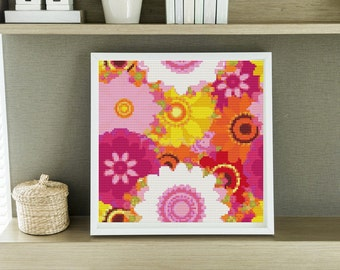 Mini Cross Stitch KIT Summer Flowers