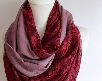 Burgundy Lace Infinity scarf, Circle scarf, Loop scarf, Mothers Day Gift Ideas For Her Women Fashion Accessories Unique Gift