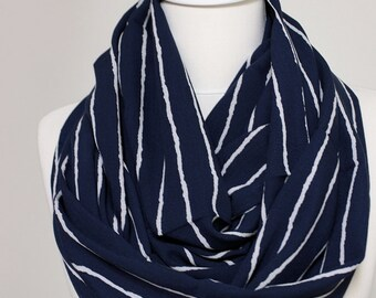 White Stripes on Navy Blue  Infinity scarf, Loop Scarf Circle Scarf Gift ideas for her, Spring - Summer - Fall - Winter Session