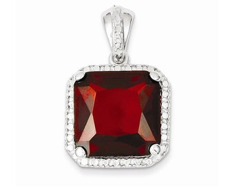 Sterling Silver Square Red CZ Pendant