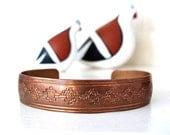 Vintage Copper Cuff Bracelet Native American Artist Signed TA Begay