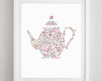 Teapot Floral Watercolor Art Print