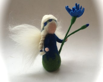 Corn flower fairy,Wet  felted. Waldorf. Felted.flower child.