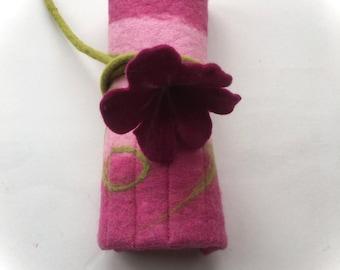 Pencil Case Wrap Roll  Felted   Waldorf   School   Fairy,Felted flower.