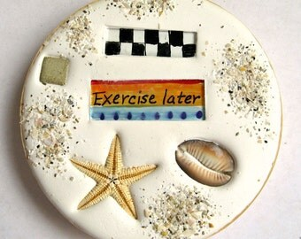 Summer coaster. Absorbent clay, starfish and glass coaster for your boat or beach home. FREE SHIPPING