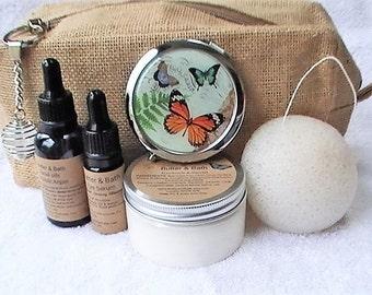 Mother's Day Gift Set, Spa kit Toiletry Bag Mirror Facial Oils Konjac Sponge, Face Mask Travel Set Natural Beauty Bag Skincare Gift Set