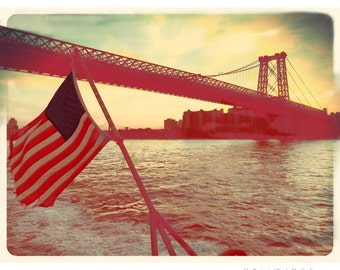 Williamsburg Bridge, American, Flag, Photography, Brooklyn, New York City, FREE SHIPPING!