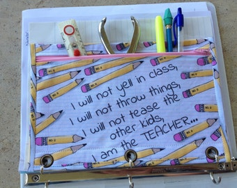 3 ring binder pencil case for the TEACHER!