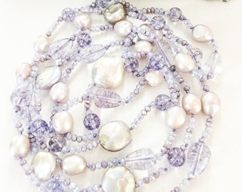 Long Crystal, Amethyst and Freshwater Pearl Necklace