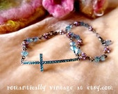 Crystal Bracelet Set, Religious Cross, Beaded Chain Drops, Shabby Chic, Romantic Jewelry, Wedding Accessories, Gift Ideas, For Women, Blue