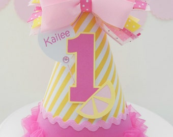 Pink Lemonade Yellow Striped Birthday Party Hat - Personalized