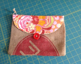 Burlap and floral printed purse-Free shipping