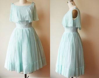 1950s sky blue chiffon dress //  starlite imports // vintage dress