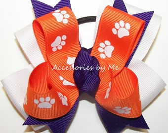 Pigtail Cheer Bow, Clemson Paw Print Ribbon Bows, Orange Purple Ponytail, Tigers Cheerbows, Accessories, Toddler Clips, Baby Alligator Clip