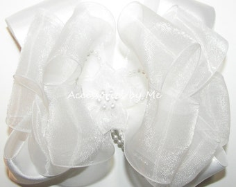 White Hair Bow, Organza Satin Hairbow, Sheer Flower Pearls Clip, Girls Baby Toddler Barrette Bows, Church Wedding, Pageant, First Communion
