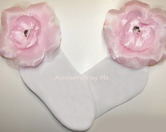 Frilly Flower Socks, Girls Baby Toddler Floral Sock, Light Pink Peony Embellished Rhinestones Socks, Glitz Pageant, Wedding, 1st Birthday