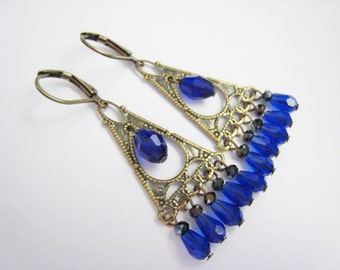Victorian Chandelier Dangle Earrings Antique Brass Teardrop Sapphire Glass Faceted Beads