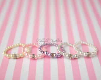 Newborn rhinestone baby bracelet, pearl baby bracelet, baby jewelry, baby accessories, its a girl, pearl bracelet, rhinestone bracelet