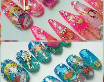 Sailor Moon Inspired Kawaii Gyaru Nails