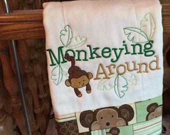Baby Burp Cloth- Monkeying Around