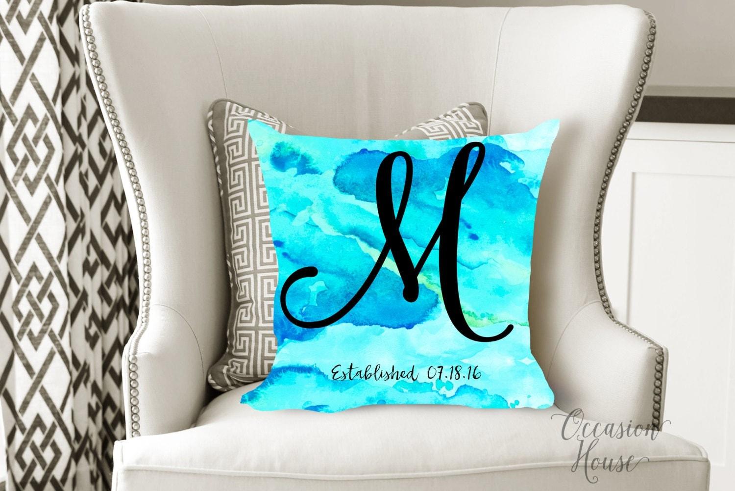 Custom Monogrammed Throw Pillows : Personalized Throw Pillow Custom Watercolor Monogram Pillow