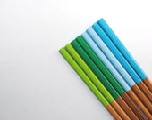 MERMAID Collection - Shades of Blue, Green - Set of 4 Paint Dipped Rubber Finished Matte Bamboo Chopsticks