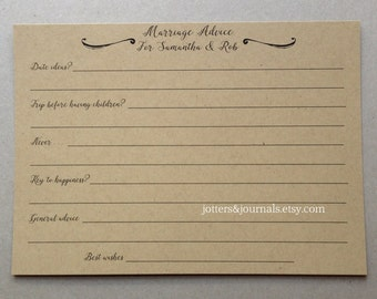 """Marriage Advice Question Cards - LARGE 5"""" X 7"""" Cards - Single-Sided or Double-Sided"""