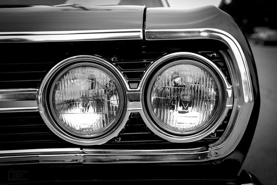 Chevy Chevlle Chevy Muscle Cars Black White Photography