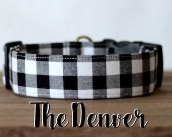 """Black & White Lumberjack Mini Buffalo Plaid Dog Collar """"The Denver"""""""