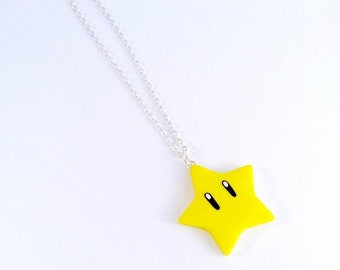 ON SALE Super Mario Invincibility Star Necklace, Power Up, Cute, Kawaii :D