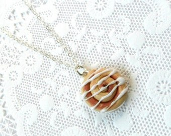 ON SALE Cinnamon Bun Necklace, Kitsch Tiny Cinnamon Rolls, Choice Of Sterling Silver Chain, Cute And Kawaii :D