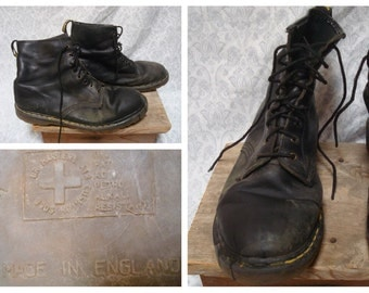 Vintage Retro 90's Men's Doc Martens Boots DR Martens Punk Distressed Black Leather Ankle Boots Mens size 12 Made in England