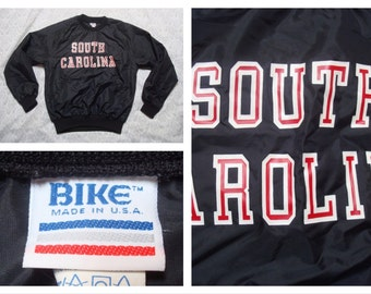 Vintage Retro Men's Bike University of South Carolina USC Jacket Pullover Black Windbreaker Small Made in the USA