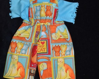"""16"""" Cabbage Patch Doll Clothes  Cats Overalls  t shirt & Hair Bows,pants, t shirt,doll clothes,handmade, colorful cats,crazy cats, cats,"""