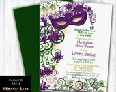 Masquerade Party Invitation - Bridal Shower Masquerade Invitation - Masquerade / Mardi Gras Mask - Digital OR Printed - Product ID AA114