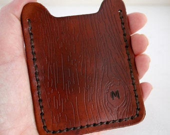 Mens Wallet - Money Clip Wallet. Leather Money Clip Card Holder - Faux Boix wood finish and Initial, 3rd anniversary gift for man husband