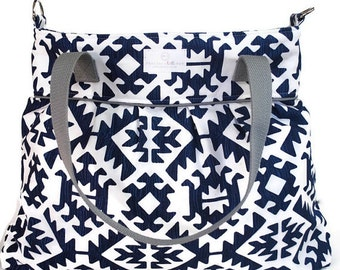 Navy Aztec Diaper Bag - Nappy Bag - Stroller Bag - Diaper Bags - Baby Changing Bag - Tote Bag
