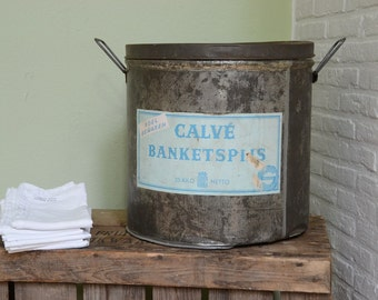 Huge vintage Dutch kitchen storage tin vintage advertising dark metal blue label  bakery tin wedding gift housewarming gift