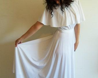 Vintage 70s White Polyester Maxi Dress