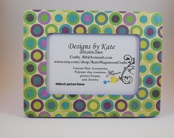 Handmade Decoupage Rustic Circle Picture Frame 4x6 inch Friendship